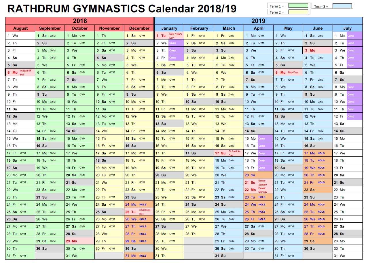 rathdrum gym club calendar 2018 2019